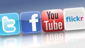 Twitterin, Facebookin,  You Tuben ja Flickrin logot.