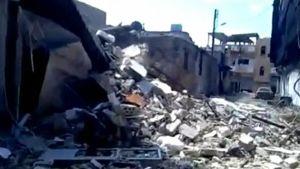 Tulituksen aiheuttamia tuhoja Homsin kaupungissa.