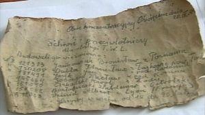 Auschwitzin vankisellin seinämästä löytynyt vankien viesti