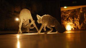 Katiskaverkoista tehtyjä eläimiä Retretissä kesällä 2009