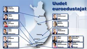 Suomen uudet euroedustajat aseteltuina Suomen kartalla