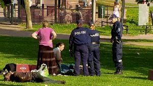 Poliisipartio jututtaa ihmisiä Töölönlahden puistossa.