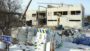 Kuvassa on Keski-Pohjanmaan keskussairaalan laajennustyömaa