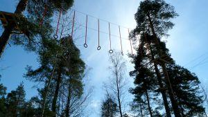 Puistossa keikutaan korkeimmillaan kymmenen metrin korkeudessa.