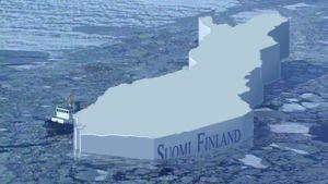 Hinaaja vetää Suomen kartan muotoista jäälauttaa