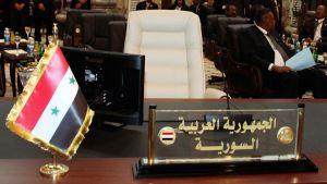 Syyrian edustajan tyhjä paikka Arabiliiton kokouksessa Bagdadissa.