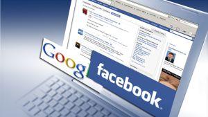 Kannettava tietokone ja Facebookin ja Googlen logot.