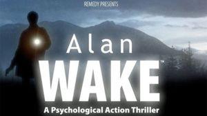 Mainosjuliste Alan Wake -pelistä. Taustalla siniset vuoret, edessä taskulamppua pitelevän miehen silhuetti.