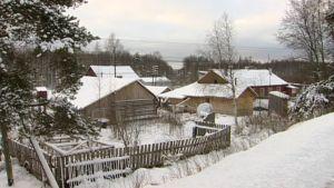 Lumen peittämää puutaloasutusta.