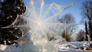Hämähäkki, voittajaveistos Korkeasaaren jäänveistokilvassa.