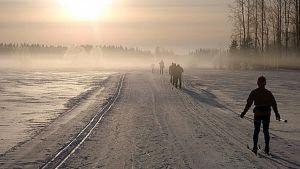 Päivä valkenee osuudella Virolahdelta Ilomantsiin.