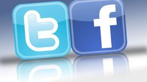 Twitter ja Facebook -logot vierekkäin.