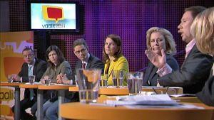 Eduskuntapuolueiden puheenjohtajat ottivat mittaa toisistaan suorassa tv-lähetyksessä Hämeenlinnan Verkatehtaalta.