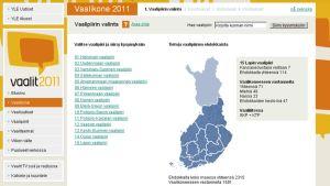 Lapin vaalipiiri YLEn vaalikoneessa.