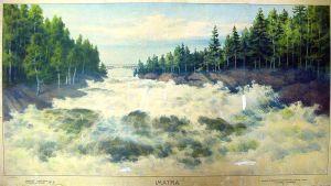 Kustaa Heikkilän vuonna 1903 tekemä kuvataulu, jossa valtoimenaan oleva Imatrankoski. Kuva Pihlajaveden koulun sivuilta.