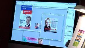 Eduskuntavaalivaaliehdokkaiden vaalimainoksia tietokoneen näytöllä.