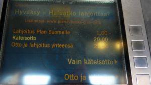 Otto-automaatin näyttö