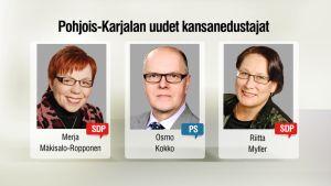 Grafiikka, jossa Mäkisalo-Ropponen, Osmo Kokko ja Riitta Myller.