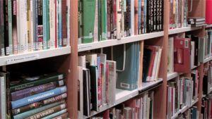 Kirjaston hylly on ahdettu täyteen kirjoja.