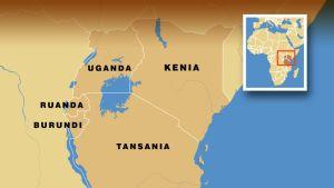 Kartta Tansanian ympäristöstä.