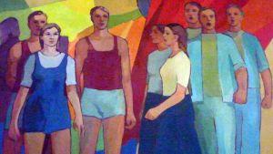 Sauvon salin neuvostohenkinen aulamaalaus ottaa vastaan vappukonserttiin tulijatkin sunnuntaina kello 15.00