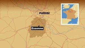 Pariisin alueen kartta, johon merkitty Essonnen alue.