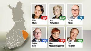 Grafiikka, jossa Pohjois-Karjalan kuusi kansanedustajaa.