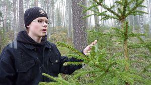 Kainuun alueen metsätietokilpailun voittaja Iiro Leiviskä.