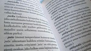 Kuvassa aukeama tamperelaismurteen sanakirjasta