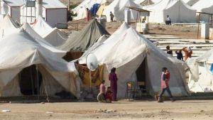 Pakolaisten telttaleiri.
