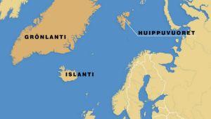 Ilmatieteen laitoksen mukaan ilmavirtaukset Islannista suuntautuvat edelleen pohjoiseen Grönlannin ja Huippuvuorten suuntaan.
