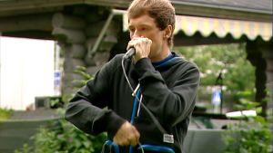 Beatboxaaja Felix Zenger Aamu-tv:ssä 5. heinäkuuta.