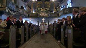 Muistojumalanpalvelus Oslon Tuomiokirkossa sunnuntaina 24. heinäkuuta 2011.