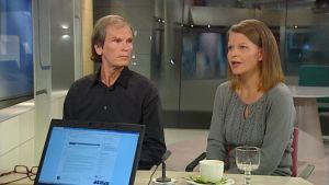 Oikeustieteen tohtori Ilari Hannula ja Ihmisoikeusliiton pääsihteeri Kristiina Kouros puhuvat Aamu-tv:ssä netin vihapuheiden vaikutuksesta.