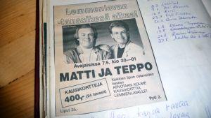 Tanssilavan leikekirjaa, jossa Matin ja Tepom kuva.
