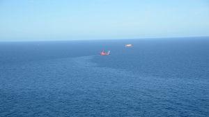 Skotlannin viranomaisten ottama ilmakuva öljyvuodosta Pohjanmerellä.