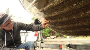 Viljami Huhtala tutkii merirokon peittämään veneen pohjaa.