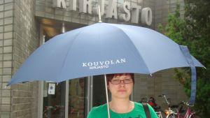 kirjasto, sateenvarjo, Kouvola
