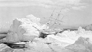 Osa luutnantti S. Gurney Cresswellin piirroksesta, joka kuvaa HMS Investigator -alusta juuttuneena jäihin.