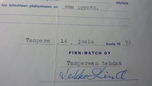 Tampereen tulitikkutehtaan työtodistus