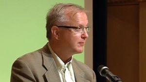 Talouskomissaari Olli Rehn puhui Mikkelin Päämaja-symposiumissa.