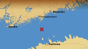 Kartta, jossa uppoamispaikka merkitty.