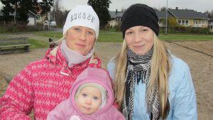 Kuvassa kaksi naista ja pieni lapsi leikkipuistossa