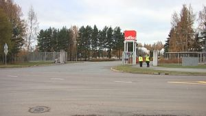 Oras Oy:n tehtaan piha Raumalla.