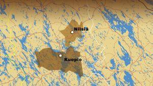 Kuopion ja Nilsiän kaupungit kartalla.
