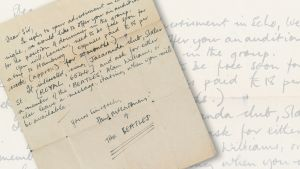 Christie's-huutokauppakamarilla myyty Paul McCartneyn allekirjoittama kirje.