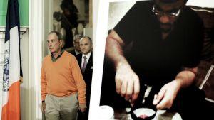 Pormestari Michael Bloomberg (vas.) ja poliisipäällikkö Raymond Kelly (oik.) saapuvat lehdistötilaisuuteen koskien terroristiepäillyn, Jose Pimentelin, pidättämistä. Pimentelin kuva kuvassa oikealla.