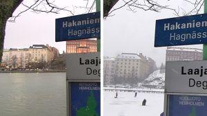 Yhdistelmäkuva Helsingin Hakaniemenrannasta.