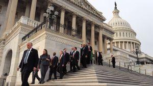 Yhdysvaltalaisia kongressiedustajia Capitolin portailla
