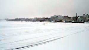Näkymä järvenjäältä Kuopion satamaan päin.